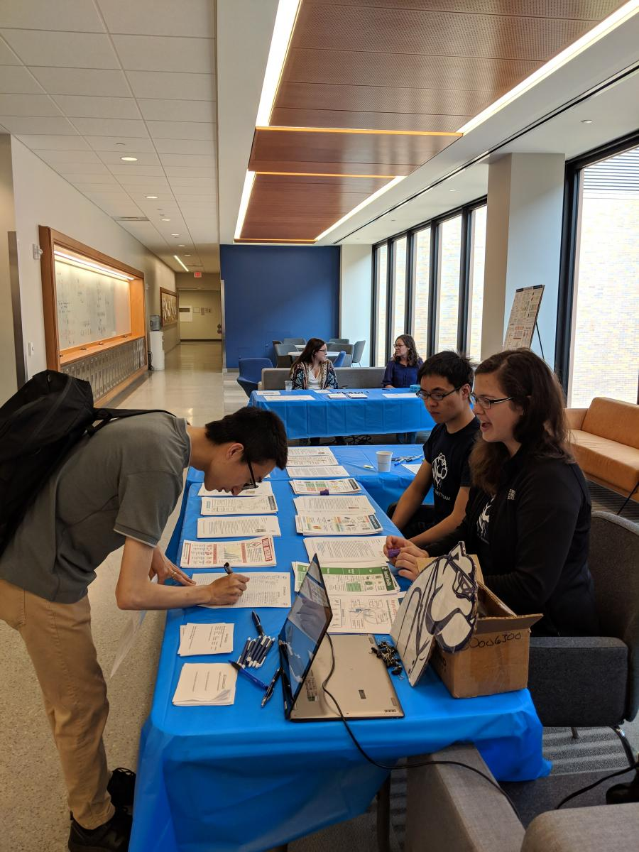 Registration and Safety Posters Table